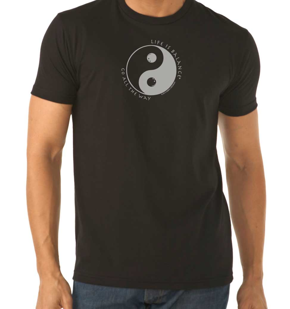 Men's short sleeve bowling t-shirt (black/white)