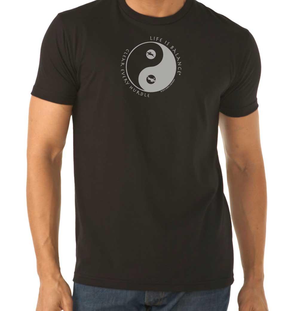 Men's short sleeve Equestrian horseback riding t-shirt (black/white)