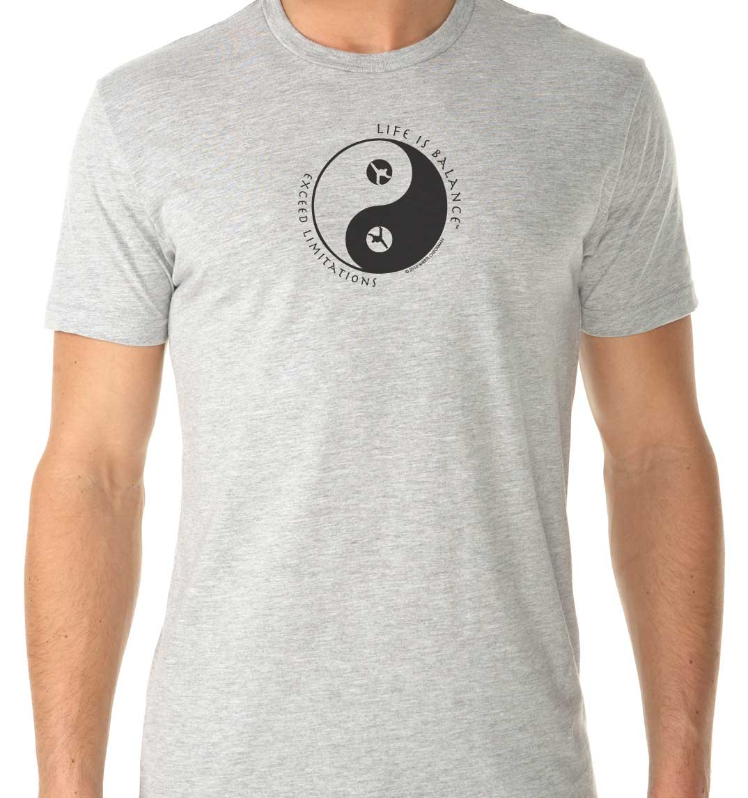 Men's short sleeve martial arts t-shirt (heather gray/black)