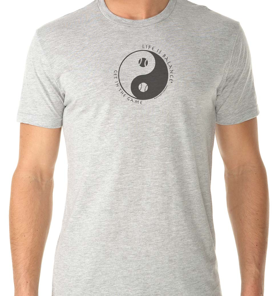 Men's short sleeve baseball/softball t-shirt (heather grey/black)