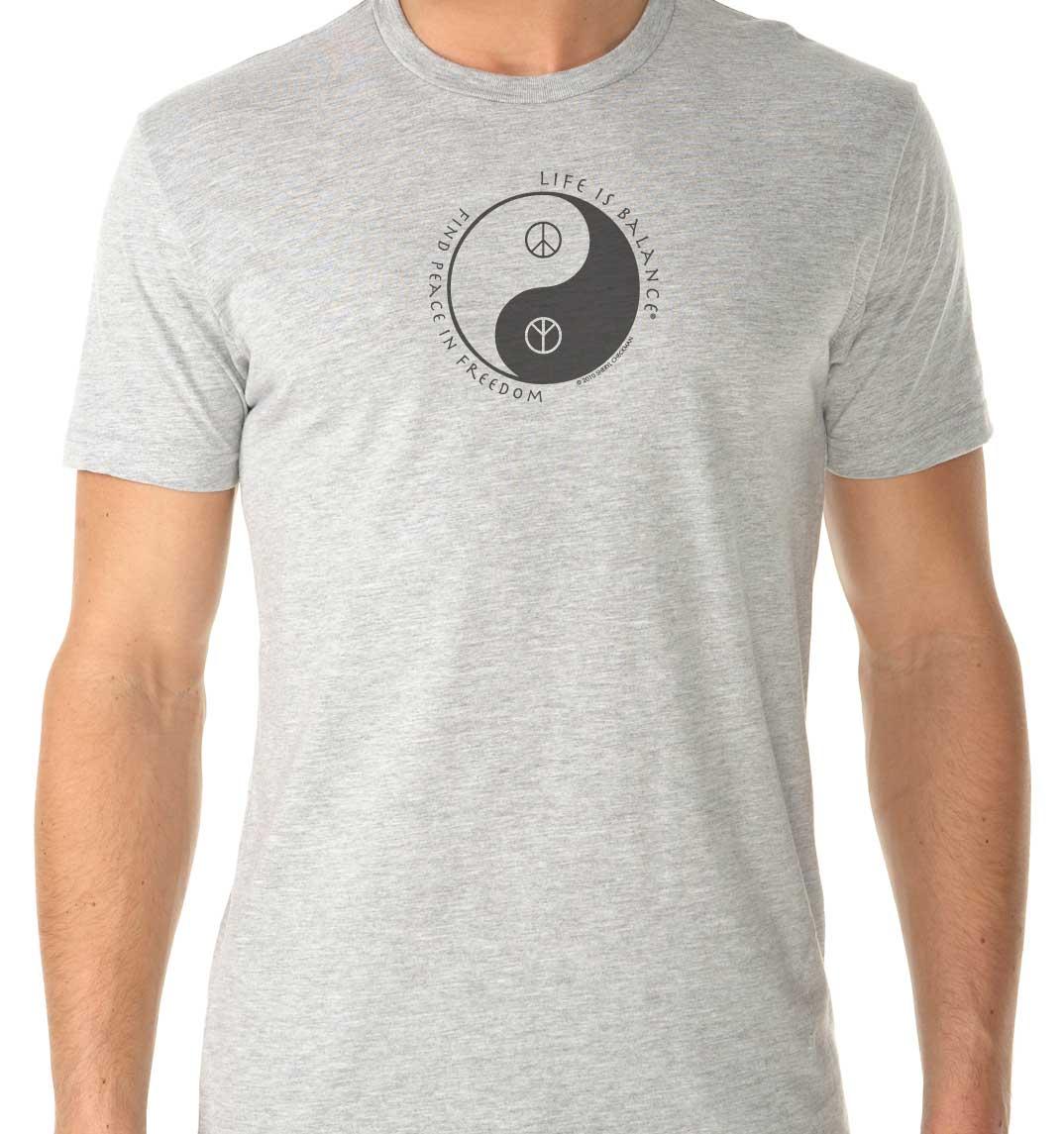 Inspirational peace symbol t-shirt for men (gray/black)