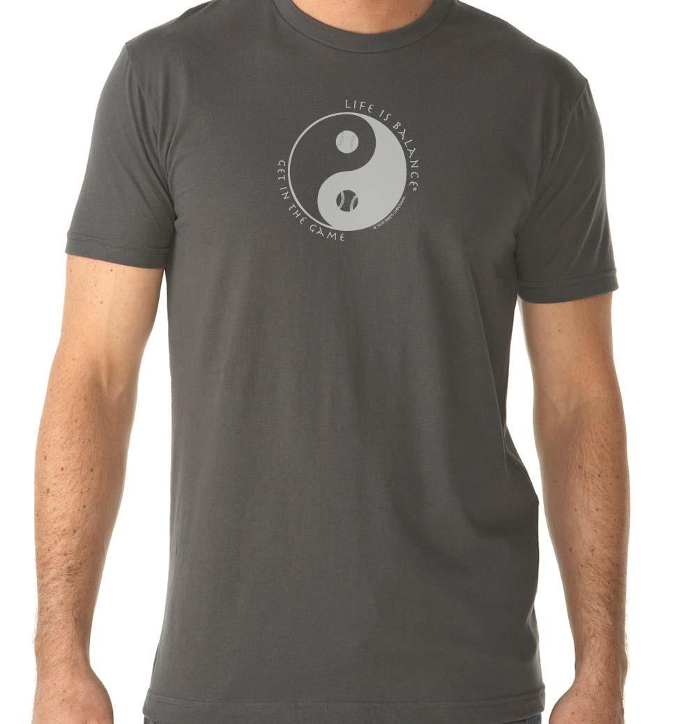 Men's short sleeve baseball/softball t-shirt (Heavy Metal/White)