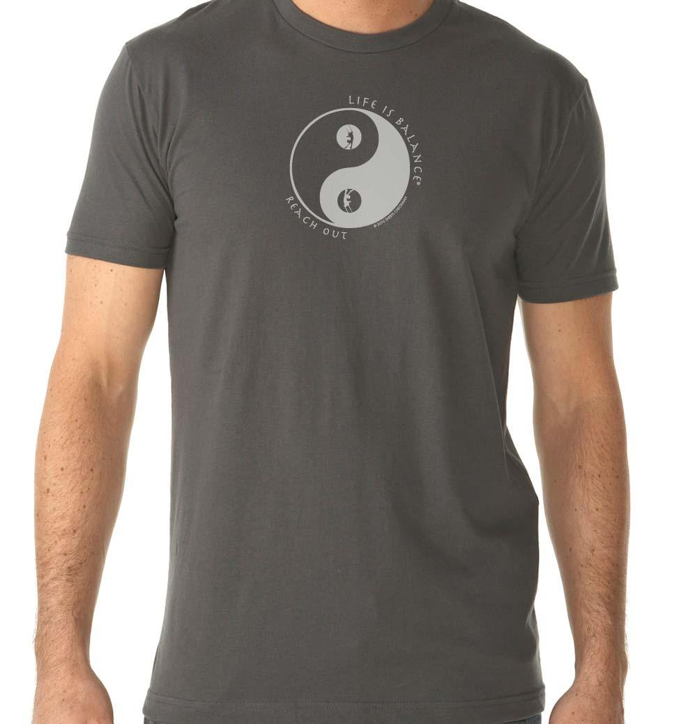 Men's short sleeve trapeze t-shirt (heavy metal/white)