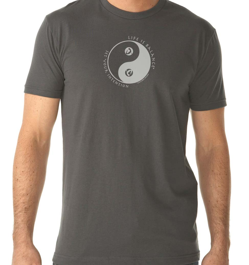 Inspirational Ski and Snowboard women's t-shirt with yin-yang symbol.