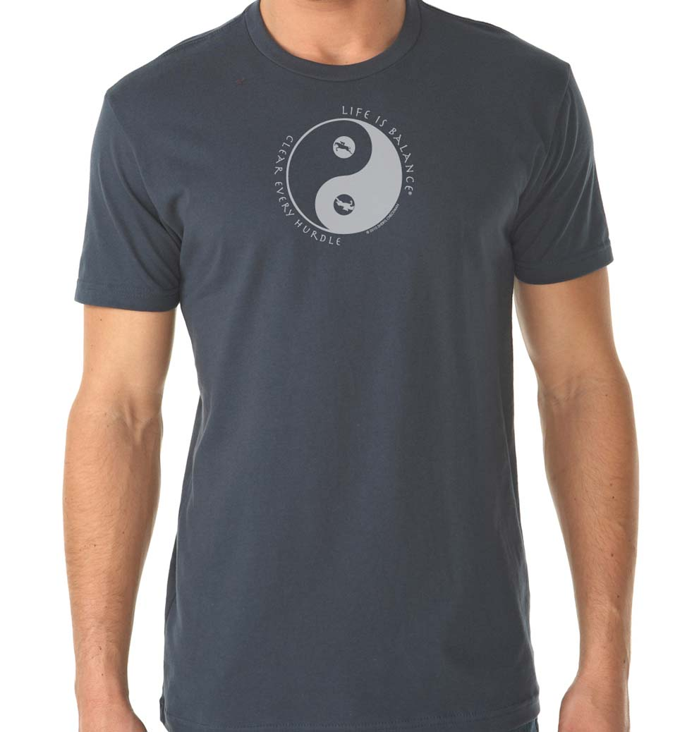 Men's short sleeve Equestrian horseback riding t-shirt (indigo)