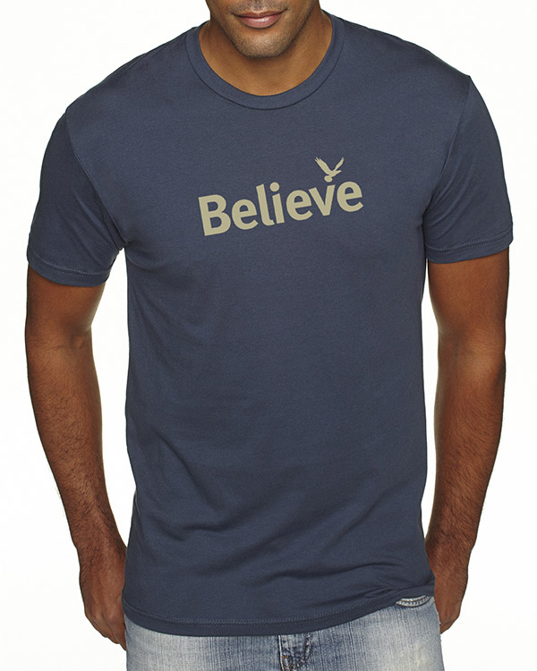 Men's short sleeve Believe T-shirt (Indigo)