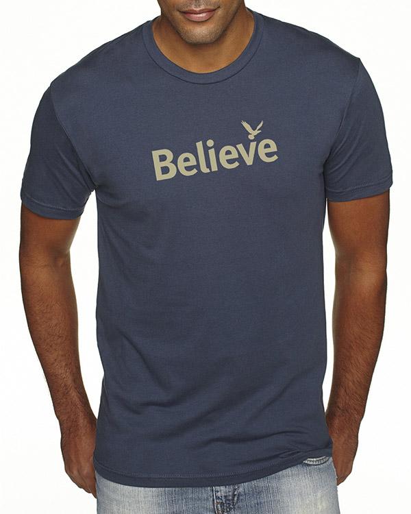 Men's short sleeve Believe T-shirt (Indigo)