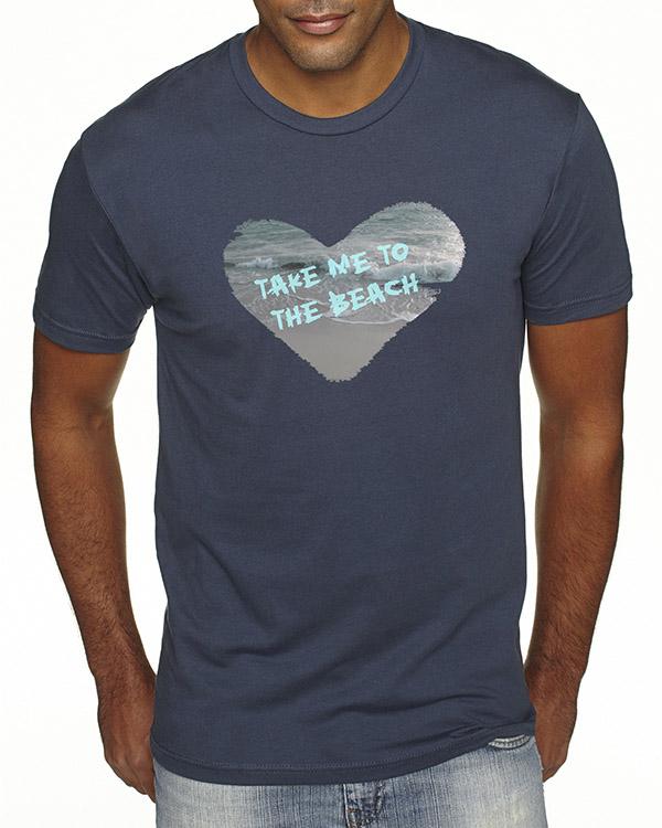 Men's short sleeve Take Me to the Beach T-shirt (Indigo)