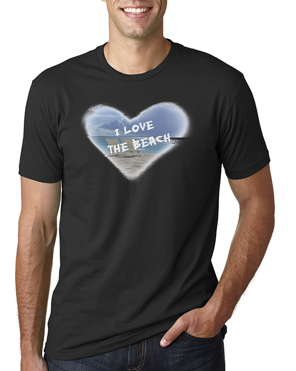 Men's short sleeve I Love the Beach T-shirt (Black)