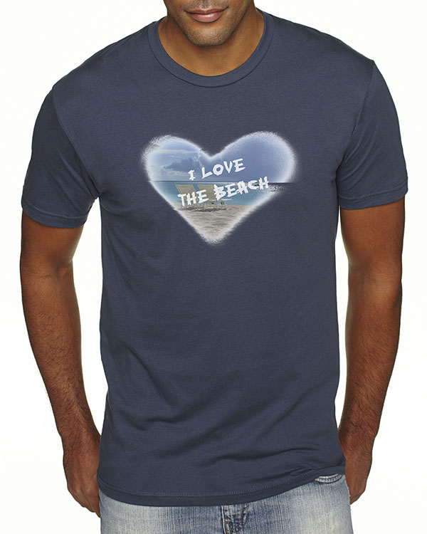 Men's short sleeve I Love the Beach T-shirt (Indigo)