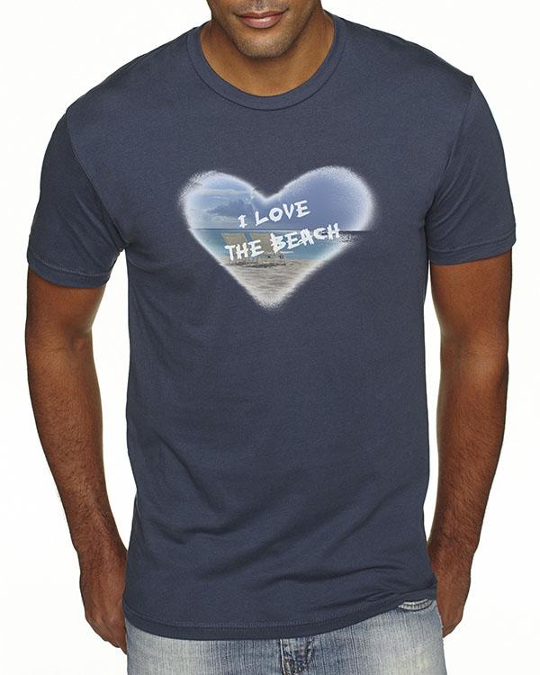 Men's short sleeve I Love the Beach T-shirt (Indigo)