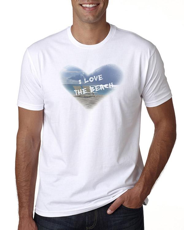 Men's short sleeve I Love the the Beach T-shirt (White)