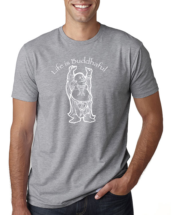 Men's short sleeve Life is Buddhaful T-shirt (Heather Gray)
