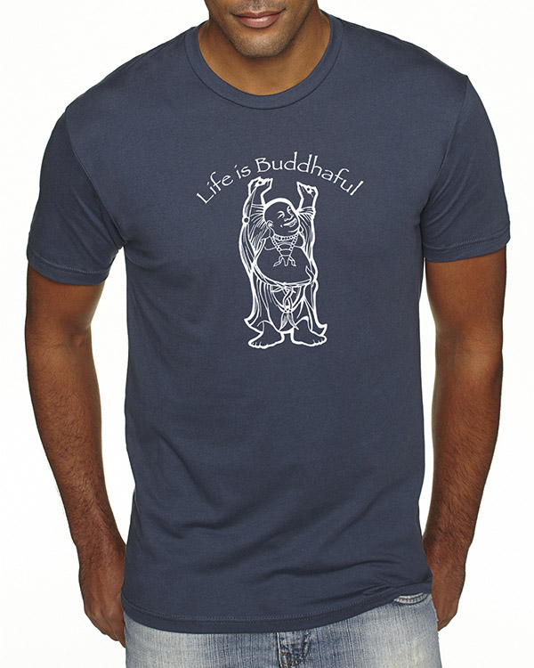 Men's short sleeve Life is Buddhaful T-shirt (Indigo)
