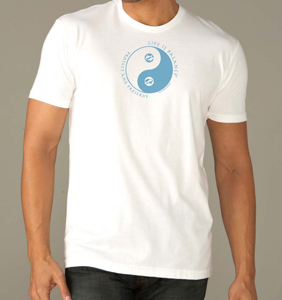 mens Ocean Conservation Fitted T-shirt (white/ocean)
