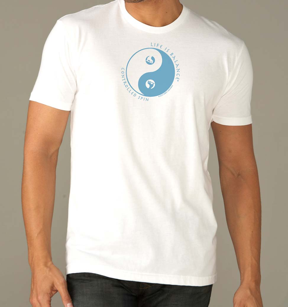 Men's short sleeve ice skating tshirt (white/ocean)