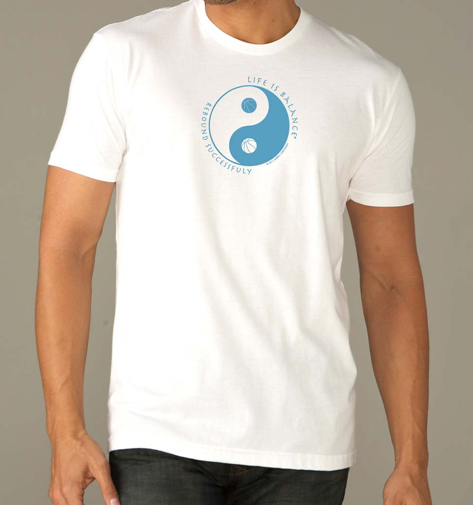 Men's short sleeve basketball t-shirt (white/ocean)
