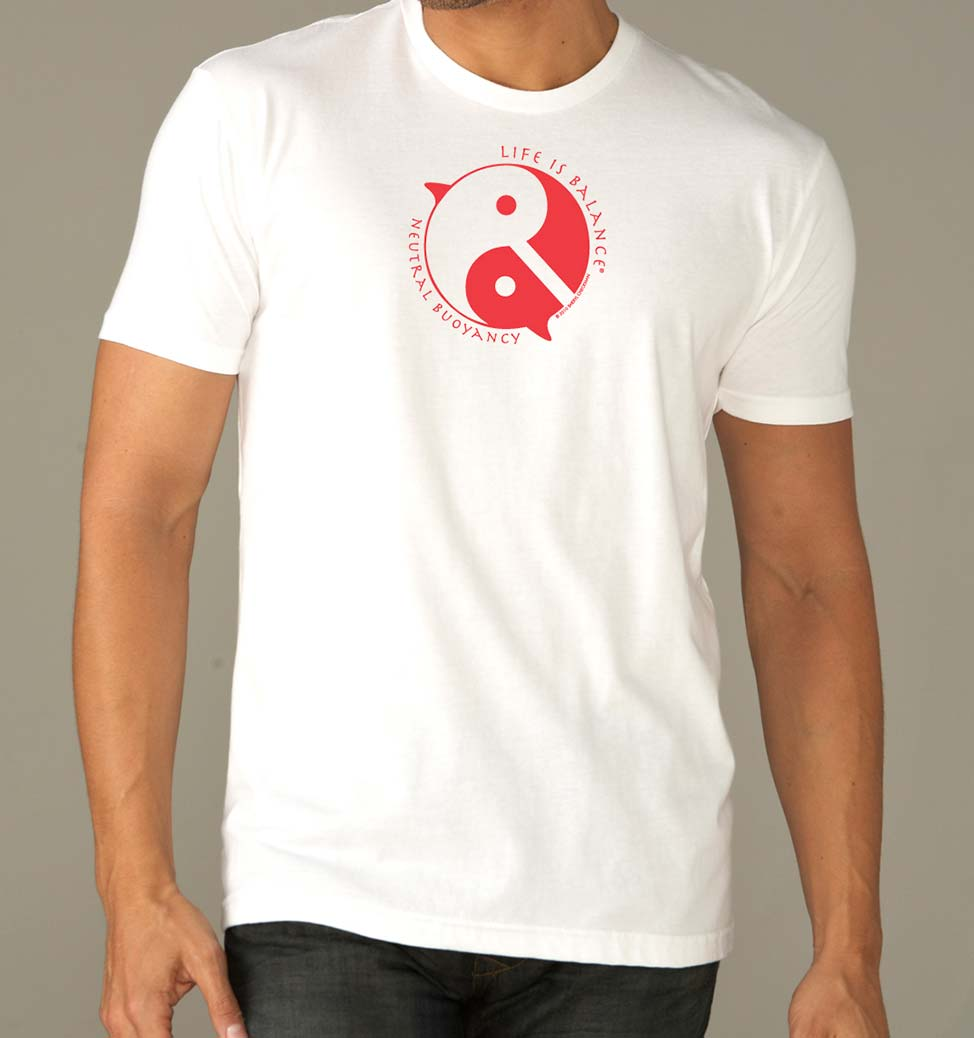 Men's short sleeve scuba diving t-shirt (white/red)