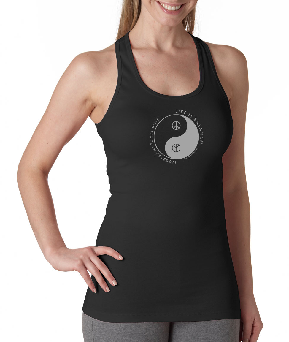 Inspirational racer-back peace symbol tank top for women (black/white)
