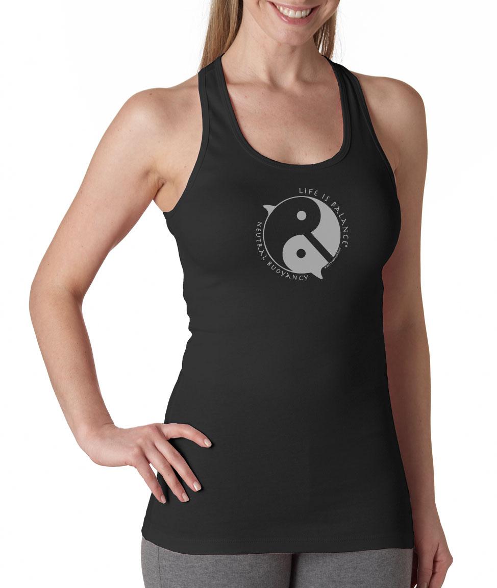 Inspirational racer-back scuba diving tank top for women (black/white)