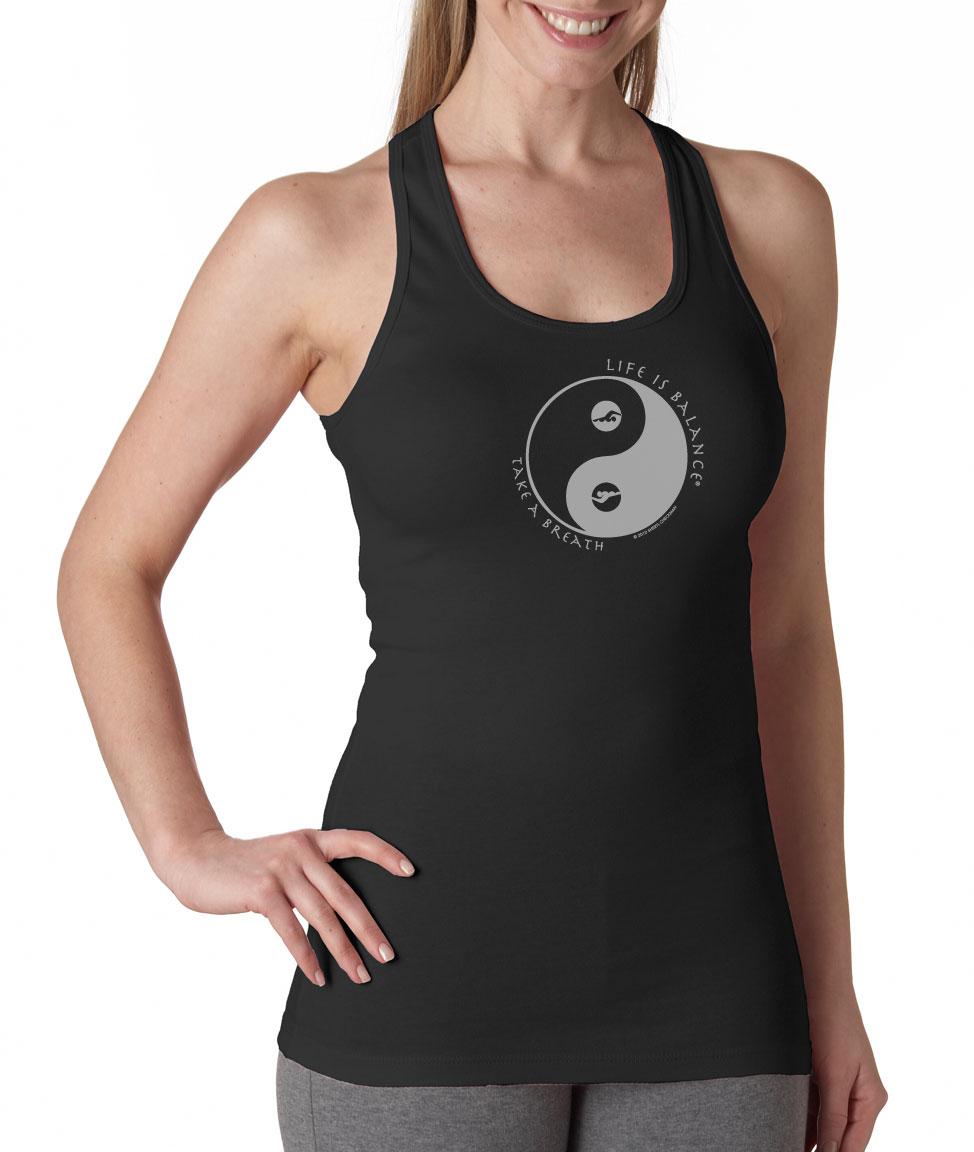 Inspirational racer-back swimming tank top for women (black/white)
