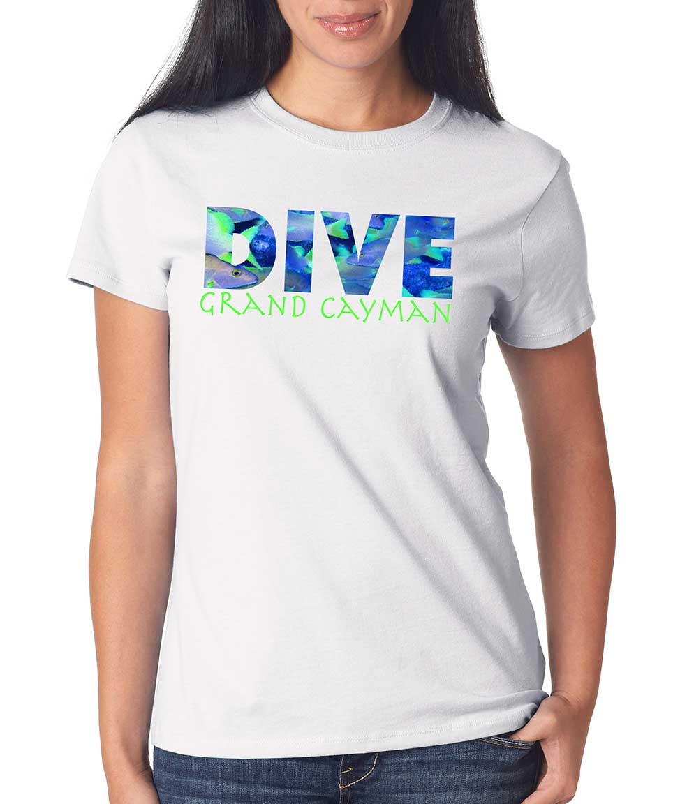 Women's short sleeve  Dive Grand Cayman White t-shirt