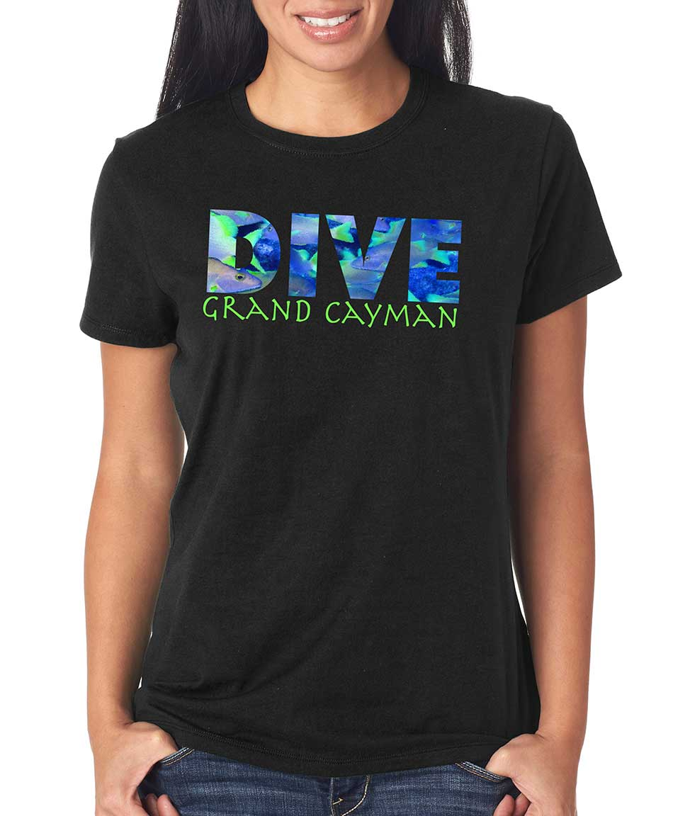 Women's short sleeve Dive Grand Cayman t-shirt Black