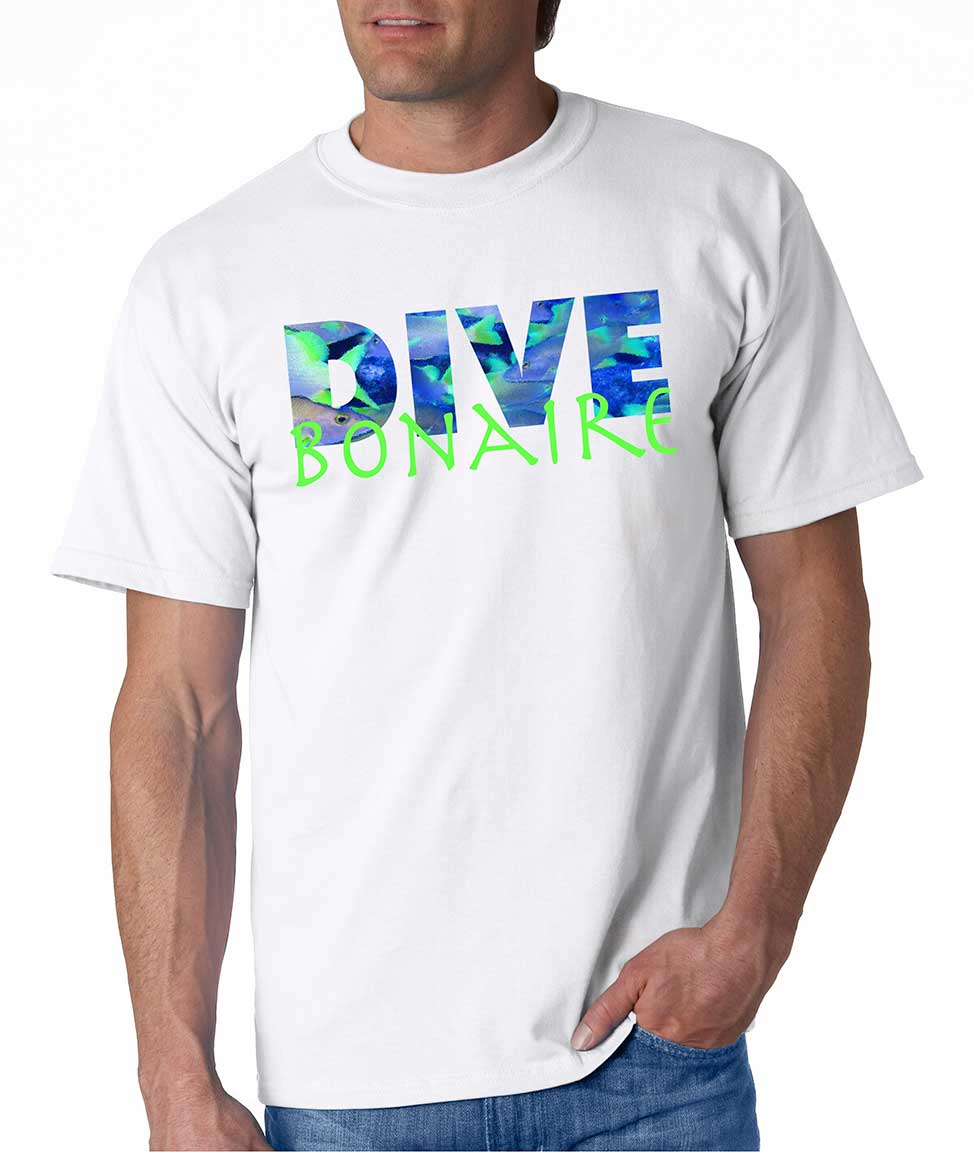 Men's short sleeve Dive Bonaire t-shirt White
