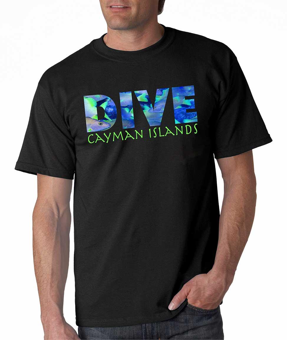 Men's short sleeve Dive Cayman Islands t-shirt Black