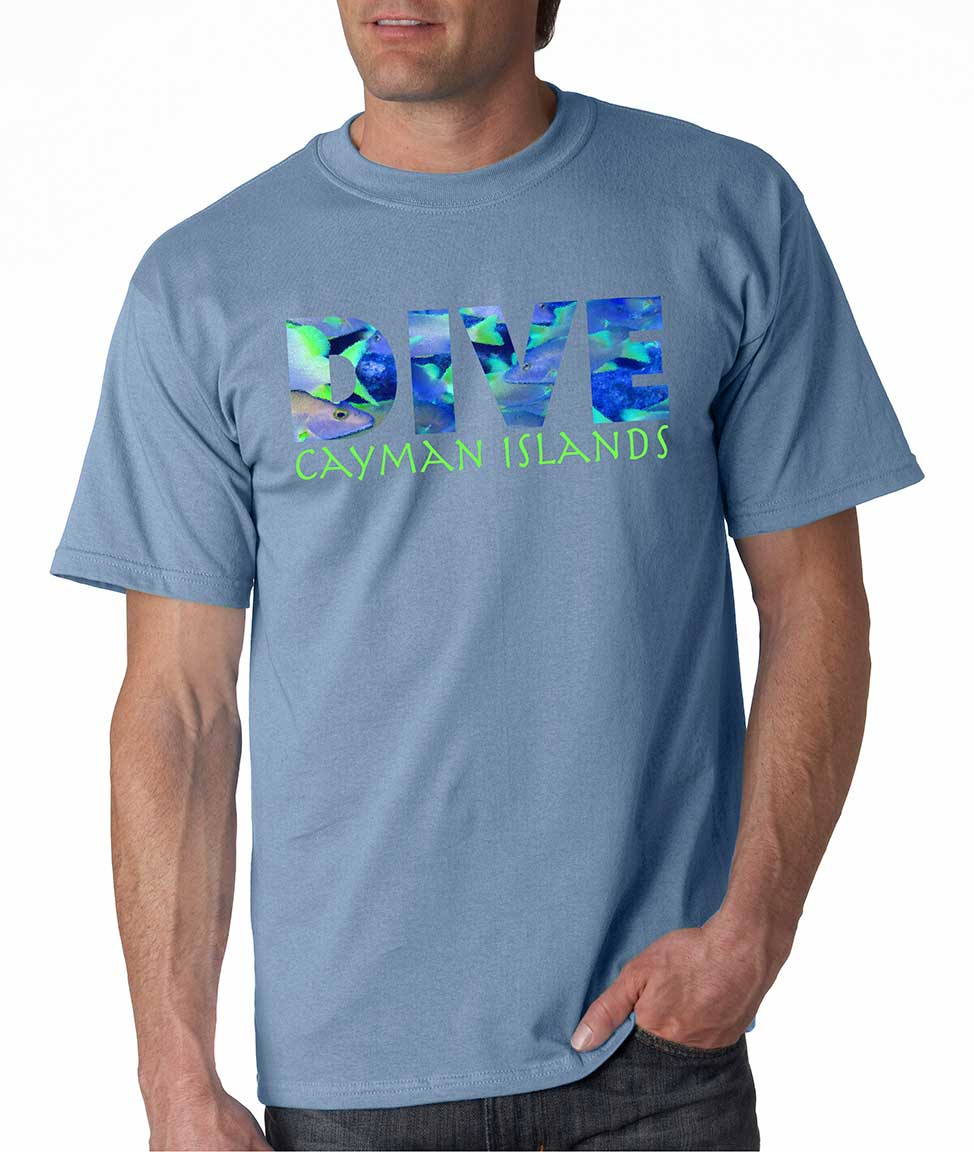Men's short sleeve Dive Cayman Islands t-shirt Carolina Blue