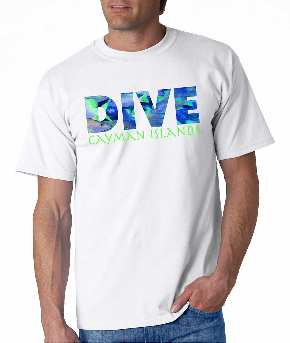 Men's short sleeve Dive Cayman Islands t-shirt White
