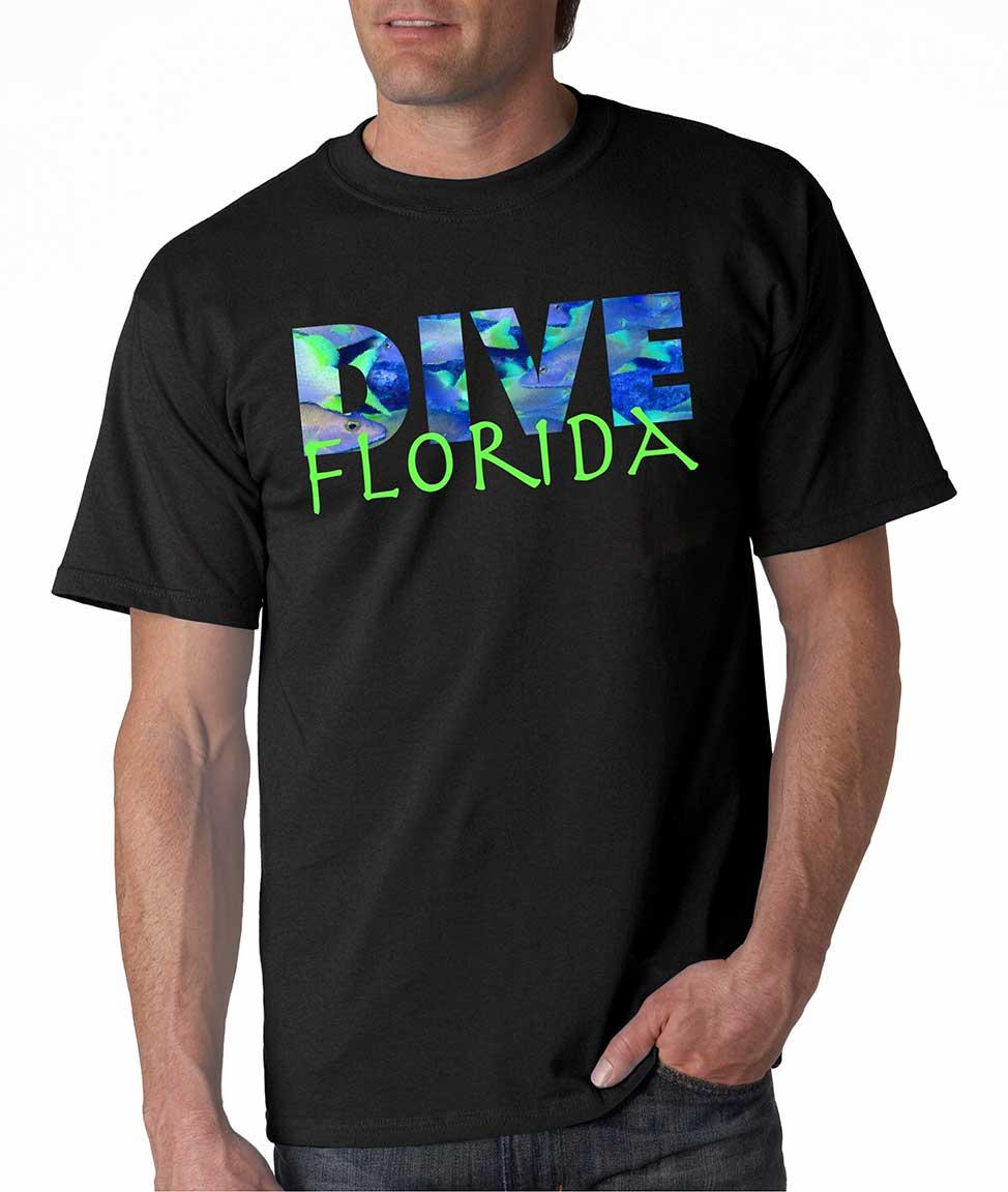 Men's short sleeve Dive Florida Islands t-shirt Black