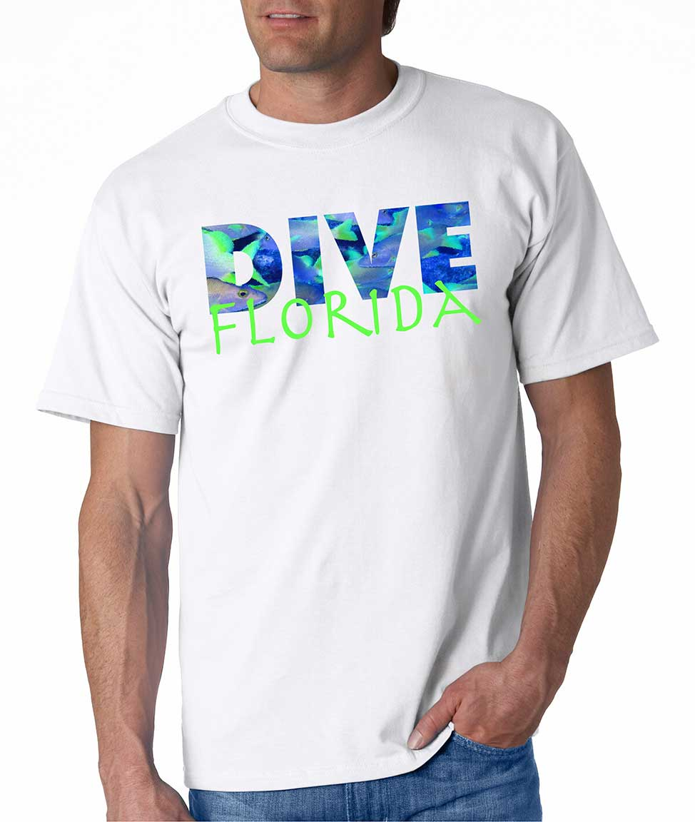 Men's short sleeve Dive Florida t-shirt White