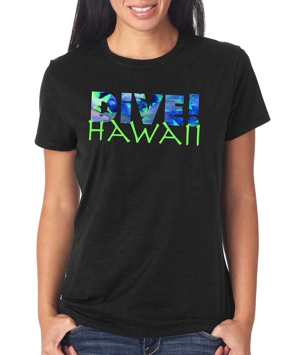 Women's short sleeve Dive Hawaii t-shirt Black