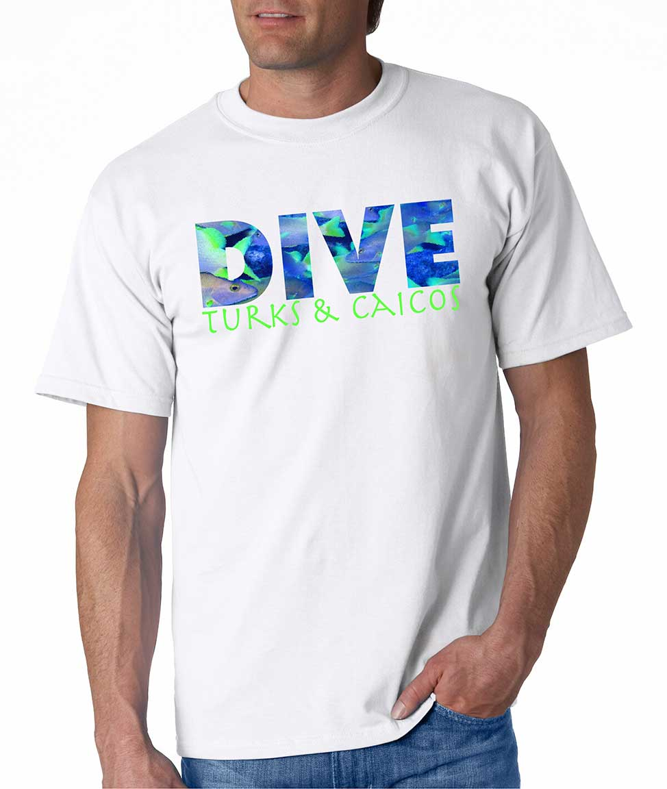 Men's Short sleeve DIVE Turks & Caicos t-shirt White