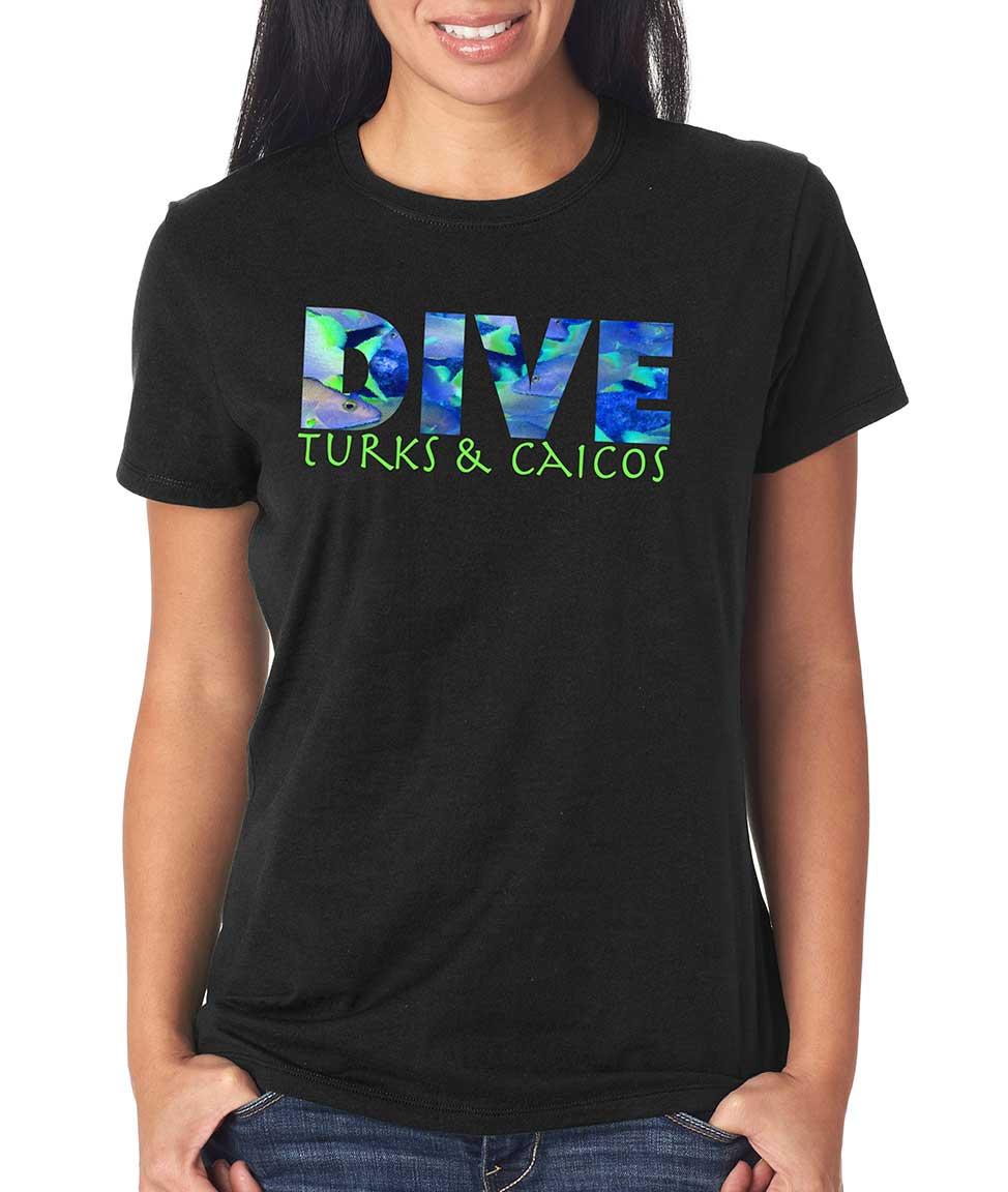 Women's short sleeve Dive Turks & Caicos t-shirt Black