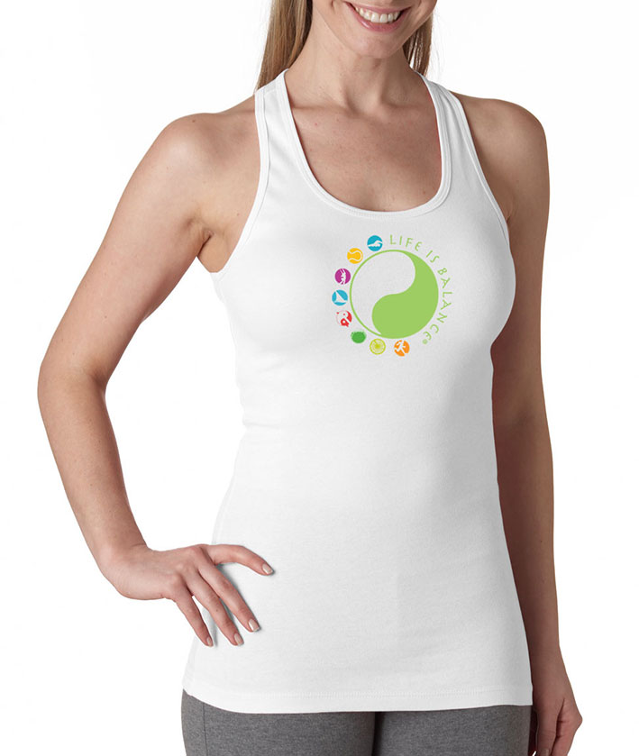 I do it all inspirational women's racer-back tank top Life is Balance logo t-shirt