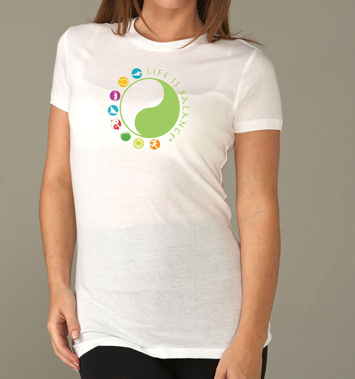 Life is Balance logo women's short sleeve crew neckt-shirt