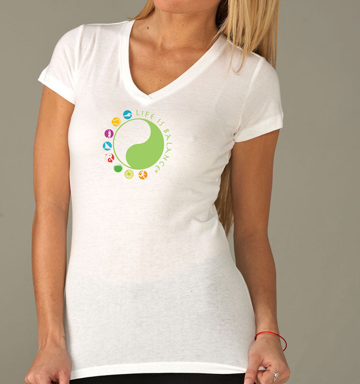 Life is Balance logo women's short sleeve v-neck t-shirt