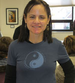 Lori wearing a Life is Balance Ski T-shirt for women