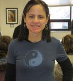 Lori wearing a Life is Balance Ski T-shirt for women