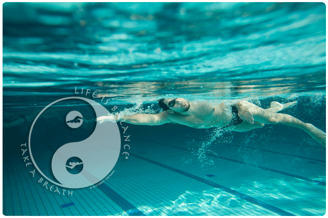 Swimming laps with life is balance logo